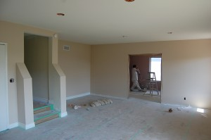 Interior new painted walls and ceiling
